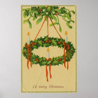 Vintage Christmas Wreath Chandelier Poster
