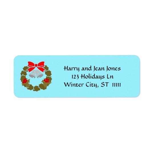 Vintage Christmas Wreath Custom Colour Blue Return Address Label