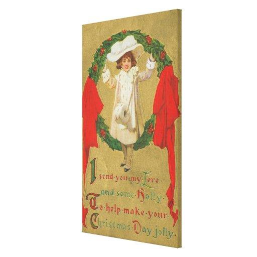 Vintage Christmas Wreath Girl Canvas Prints