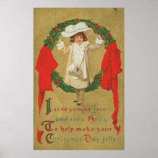 Vintage Christmas Wreath Girl Posters