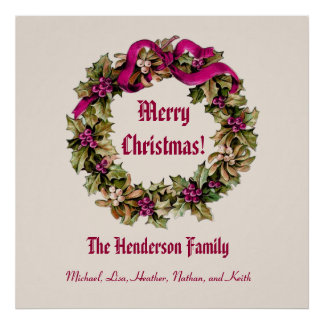 Vintage Christmas Wreath Merry Christmas Custom V4 Posters