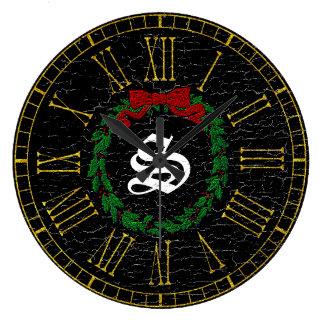 Vintage Christmas Wreath Monogram Large Clock