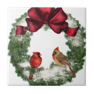 Vintage Christmas Wreath Small Square Tile