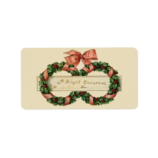 Vintage Christmas Wreaths Gift Tag Avery Label