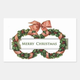 Vintage Christmas Wreaths Rectangular Stickers