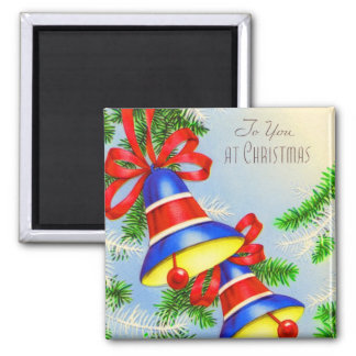 Vintage Christmas Xmas Bells Square Magnet