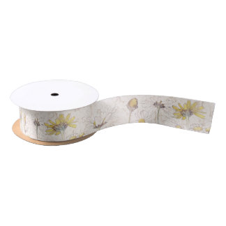 Vintage Chrysanthemum Floral Flowers Ribbon Satin Ribbon