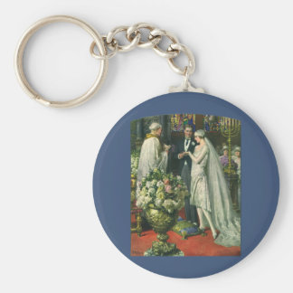 Vintage Church Wedding Ceremony; Bride and Groom Basic Round Button Key Ring