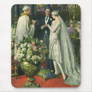 Vintage Church Wedding Ceremony Bride and Groom Mousepads