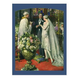 Vintage Church Wedding Ceremony; Bride and Groom Postcards