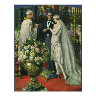 Vintage Church Wedding Ceremony; Bride and Groom Poster