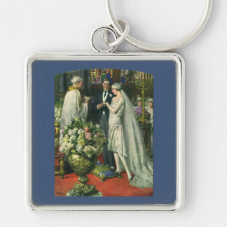 Vintage Church Wedding Ceremony; Bride and Groom Silver-Colored Square Key Ring