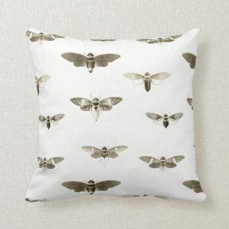 Vintage Cicada Illustration Pillow