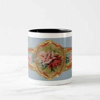 Vintage Cigar Band Label Art, Rose Flowers Two-Tone Coffee Mug
