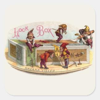 Vintage Cigar Box Gnomes Square Sticker