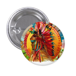 Vintage Cigar Box Indian Red Feather Label Buttons
