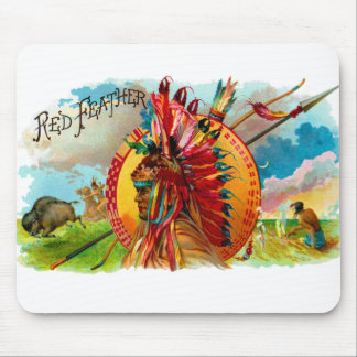 Vintage Cigar Box Indian Red Feather Label Mousepads