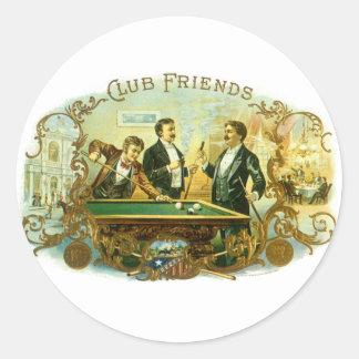 Vintage Cigar Label Art, Club Friends Billiards Round Sticker