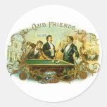 Vintage Cigar Label Art Club Friends Shooting Pool Round Sticker