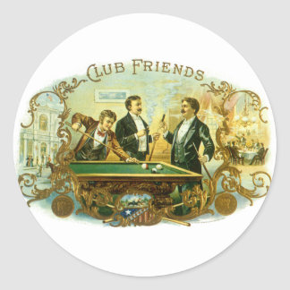 Vintage Cigar Label Art Club Friends Shooting Pool Round Sticker