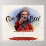 Vintage Cigar Label Art, Cowboy Hits the Mark