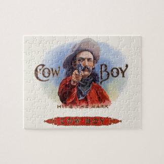 Vintage Cigar Label Art, Cowboy Hits the Mark Jigsaw Puzzle
