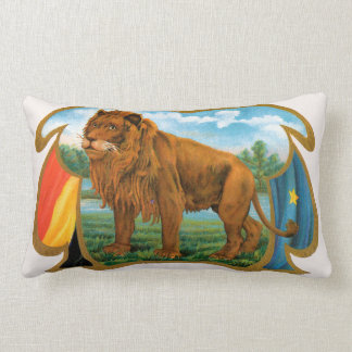 Vintage Cigar Label Art, Lion, King of the Jungle Lumbar Cushion