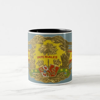 Vintage Cigar Label Art, Manuel Lopez Imperiales Two-Tone Coffee Mug