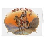 Vintage Cigar Label Art; Red Cloud Indian Horse Greeting Card