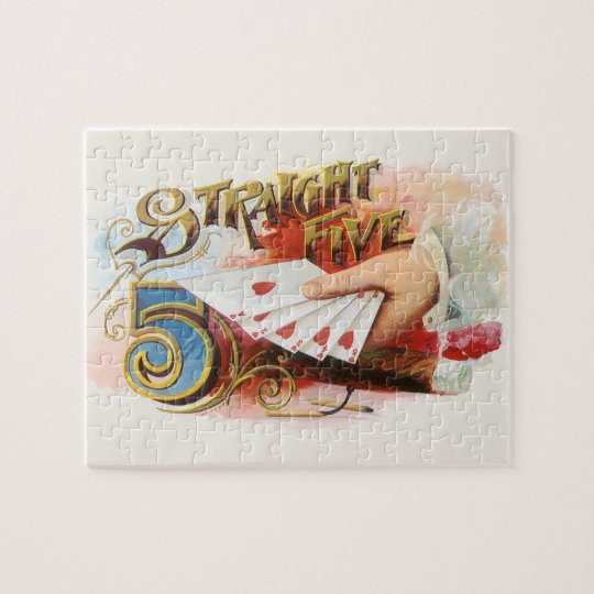 Vintage Cigar Label Art Straight Flush with Hearts Jigsaw Puzzle
