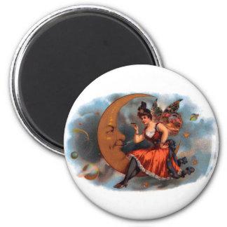 Vintage Cigar Label Art, Victorian Fairy on Moon 6 Cm Round Magnet