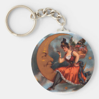 Vintage Cigar Label Art, Victorian Fairy on Moon Basic Round Button Key Ring