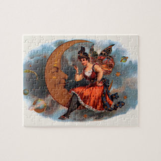 Vintage Cigar Label Art, Victorian Fairy on Moon Jigsaw Puzzle