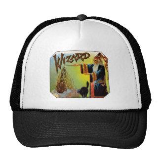 Vintage Cigar Label Art, Wizard Cigars w Black Cat Trucker Hat