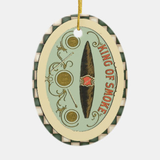 Vintage Cigar Label King of Smoke Tobacco Ceramic Ornament