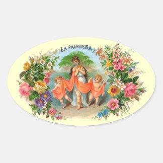 Vintage Cigar Label La Palmiera, Woman with Angels