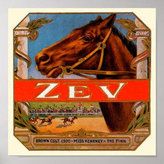 Vintage Cigar Label, Zev Race Horses Brown Colt Poster