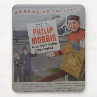 Vintage Cigarette Advertisement Pilot and Stewarde Mouse Pad