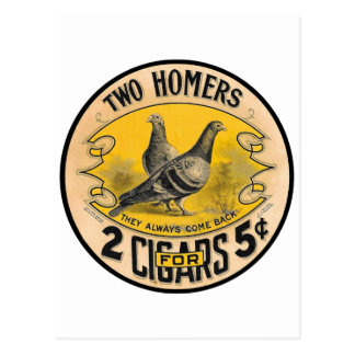 Vintage Cigars Two Homers for 5 Cents Label Postcard