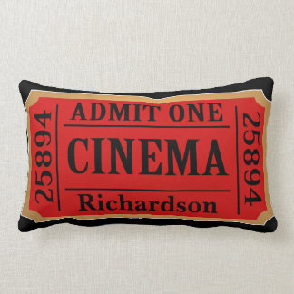 Vintage Cinema Movie Ticket Family Name Lumbar Cushion