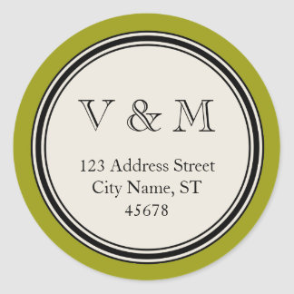 Vintage Circle Frame Return Address Seal Template Round Stickers