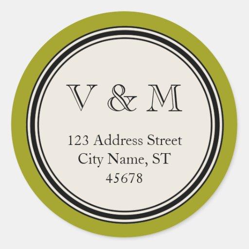 Vintage Circle Frame Return Address Seal Template Round Stickers