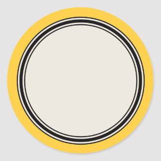 Vintage Circle Label Template, Yellow Round Sticker