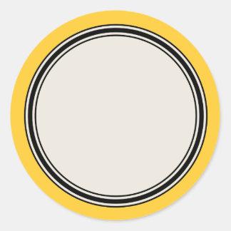 Vintage Circle Label Template, Yellow Round Sticker