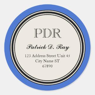 Vintage Circle Return Address Label, Blue Round Sticker
