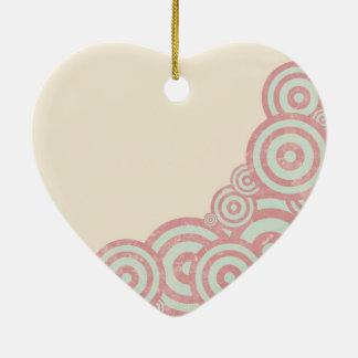 Vintage Circles Ceramic Heart Decoration