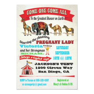 "Vintage Circus Animals Baby Shower Invitations 5"" X 7"" Invitation Card"