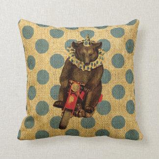 Vintage Circus Bear on Motorcycle with Polka Dots Cushion