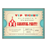 Vintage Circus Carnival Birthday Party Ticket 13 Cm X 18 Cm Invitation Card