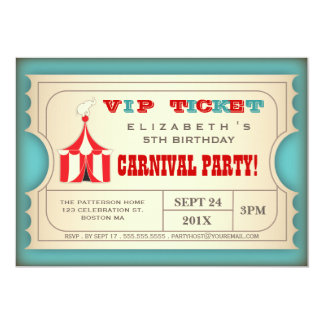 Vintage Circus Carnival Birthday Party Ticket 13 Cm X 18 Cm Invitation Card